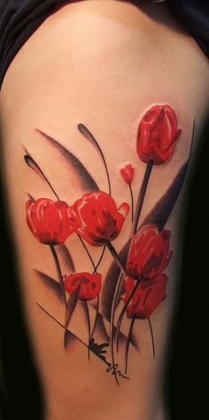 Elegant Red Tulips Flower Tattoos