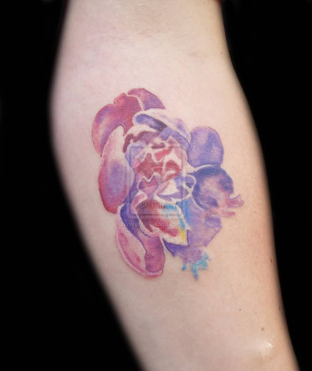 Elegant Watercolor Flower Tattoo