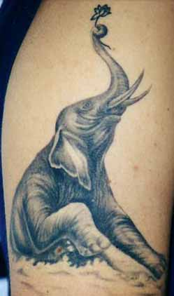 Elephant With Lotus Tattoo