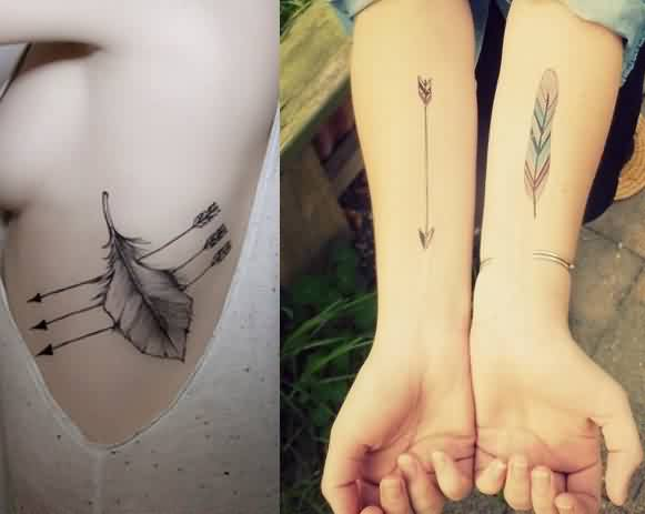 Embedded Feather Arrow Tattoos