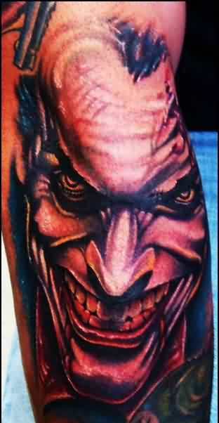 Evil Joker Portrait Tattoo On Sleeve