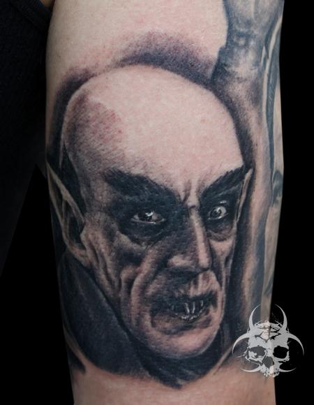 Evil Nosferatu Portrait Tattoo