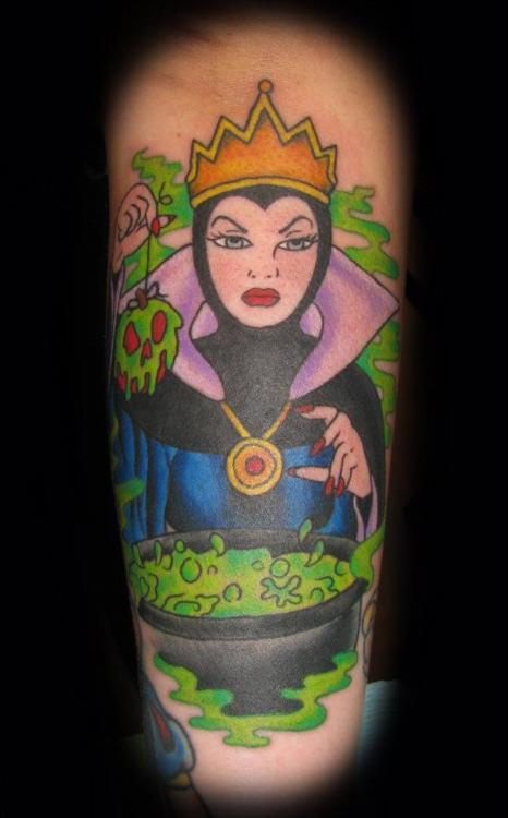 Evil Queen And Green Flame Tattoos