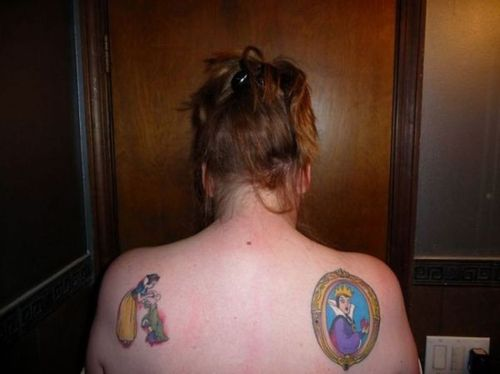 Evil Queen Mirror Tattoo On Right Back Shoulder