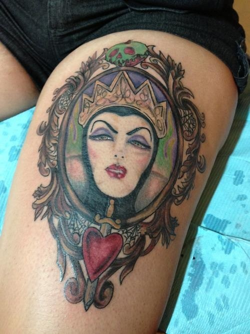 Evil Queen Mirror Tattoo On Thigh (2)