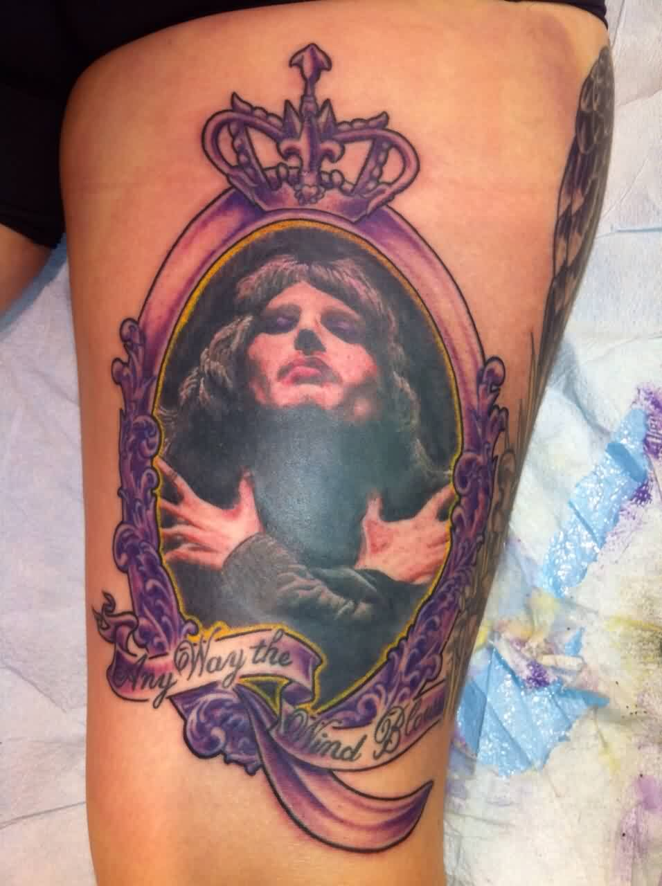 Evil Queen Mirror Tattoo On Thigh