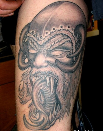 Evil Viking Horned Helmet Tattoo