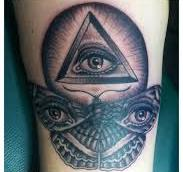 Eye Pyramid And Butterfly Tattoos