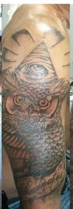 Eye Pyramid And Owl Tattoos On Half Sleeve