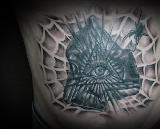 Eye Pyramid And Spiderweb Tattoos