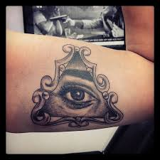 Eye Pyramid Tattoo On Inner Arm