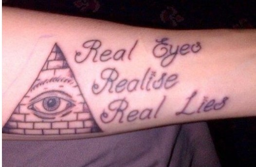 Eye Pyramid With Quote Tattoos On Forearm