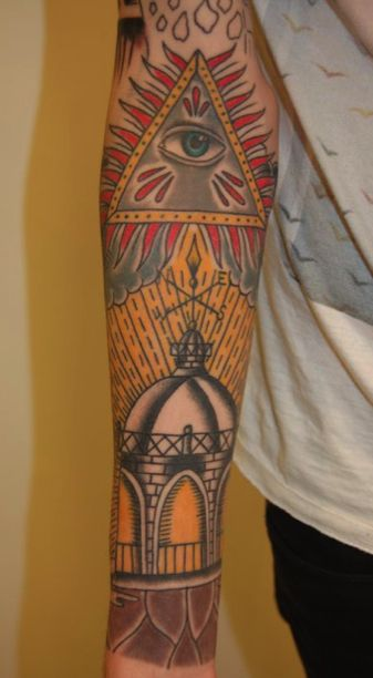 Eye Triangle And Lighthouse Tattoos On Sleeve