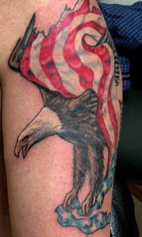 Fabulous American Eagle Flag Tattoo