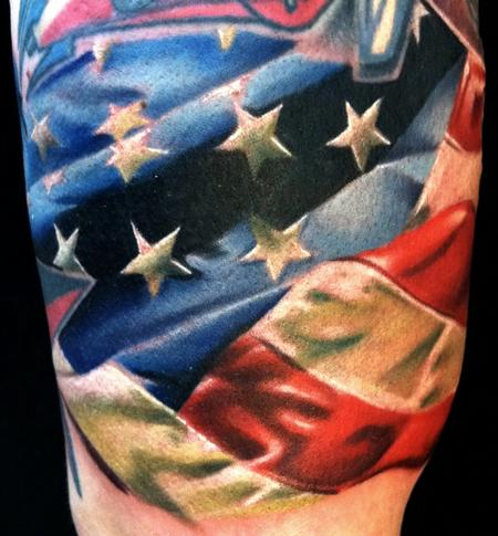 Fabulous American Flag Tattoo On Half Sleeve