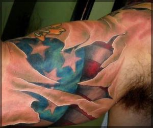 Fabulous American Tattoo On Muscles