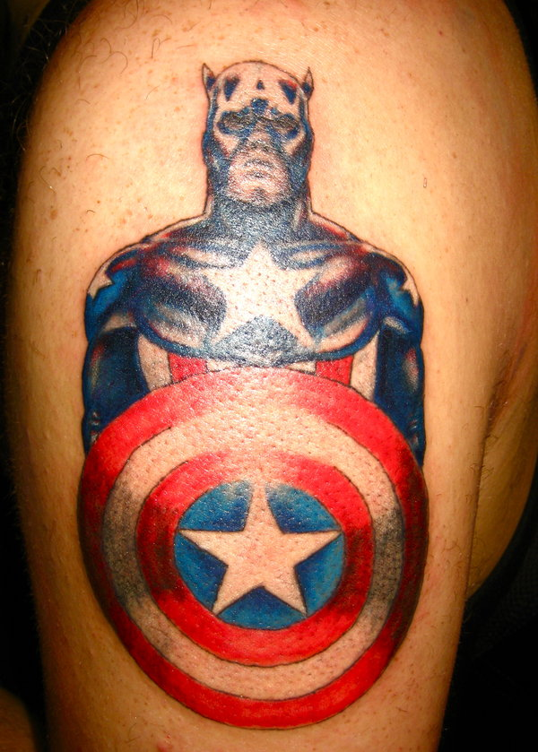 Fabulous Captain America Tattoo On Biceps