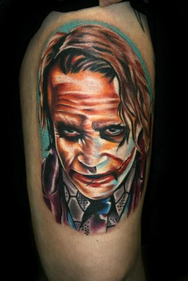 Fabulous Colored Joker Portrait Tattoo