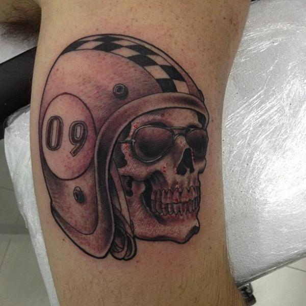 Fabulous Grey Skull Helmet Tattoo