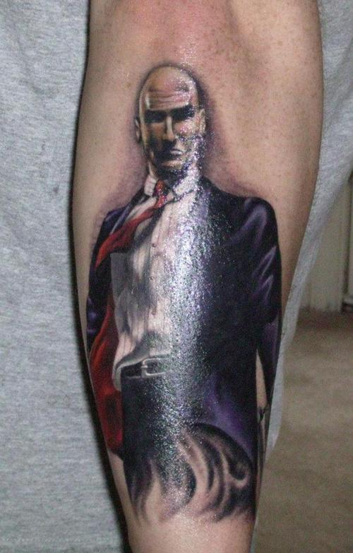 Fabulous Hitman Portrait Tattoo On Arm
