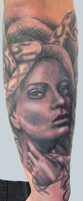 Fabulous Medusa Portrait Tattoo On Sleeve
