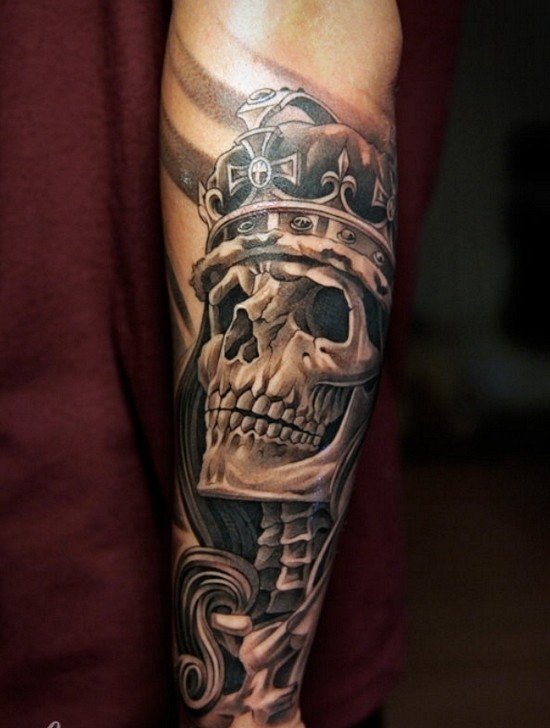 Fabulous Queen Skull Tattoo On Lower Arm