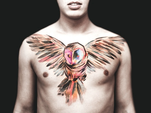 Fabulous Watercolor Owl Tattoo On Chest