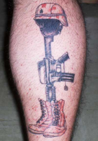 Fallen Soldier's Helmet Gun And Boots Tattoos