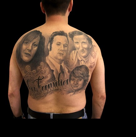 Familia Portrait Tattoos On Backbody
