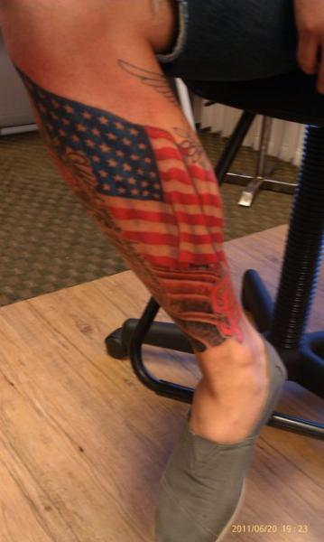 Fantastic American Flag Tattoo On Leg