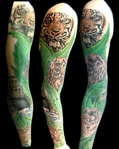 Fantastic Animal Tattoos On Full Sleeve