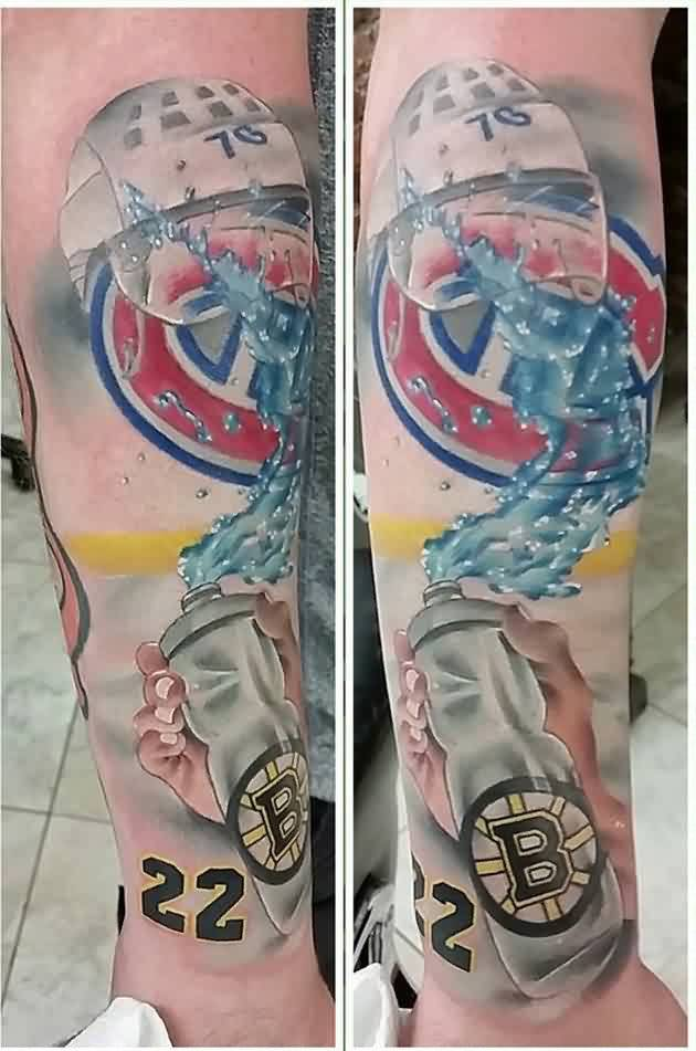 Fantastic Boston Bottle Forearm Tattoos