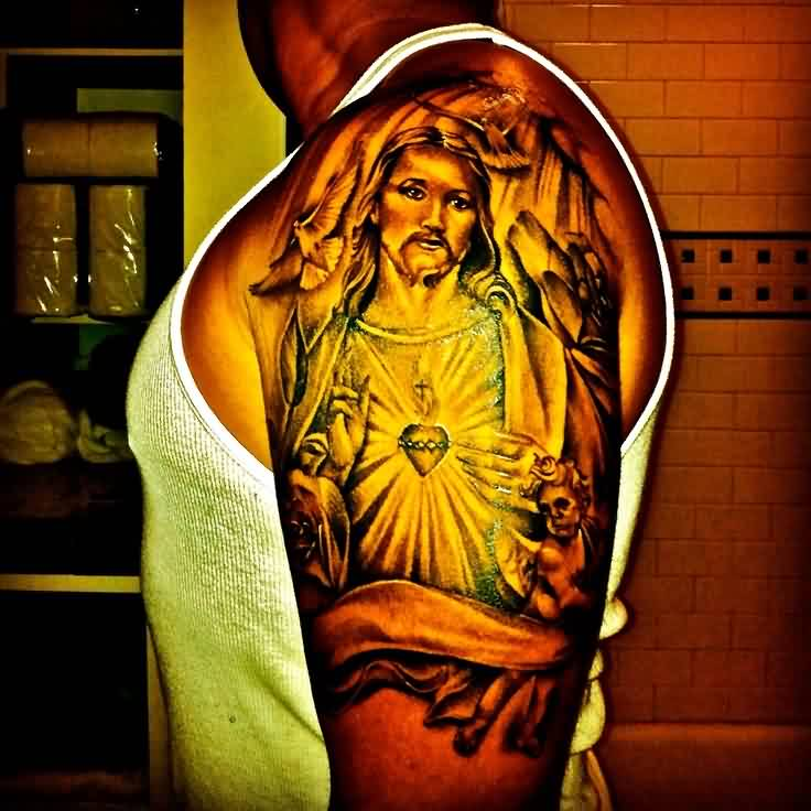 Fantastic Christian God Portrait Tattoo On Biceps