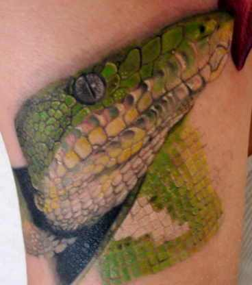 Fantastic Colored Snake Portrait Tattoo