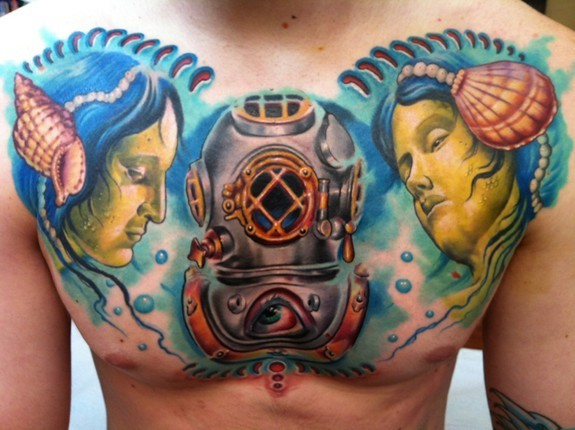 Fantastic Eye Diving Helmet Tattoo On Center Of Chest