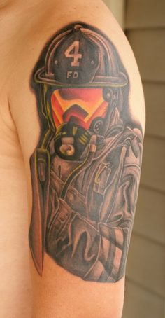 Fantastic Firefighter Helmet Tattoo On Half Sleeve