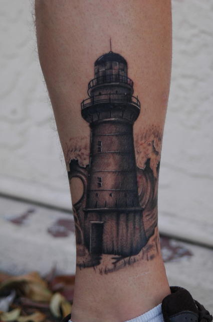 Fantastic Grey Lighthouse Tattoo