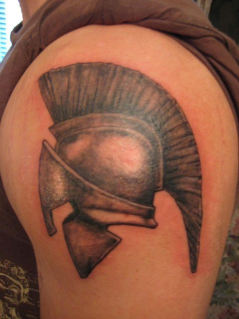 Fantastic Helmet Tattoo On Shoulder
