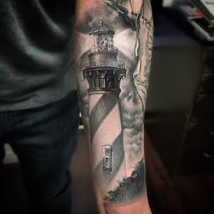 Fantastic Lighthouse Tattoo On Sleeve