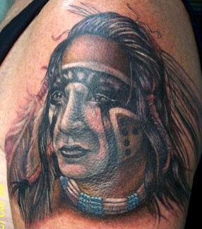 Fantastic Native American Portrait Tattoo On Shoulder
