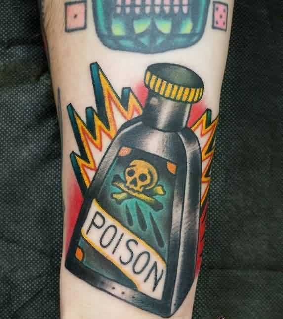 Fantastic Poison Bottle Tattoo On Wrist