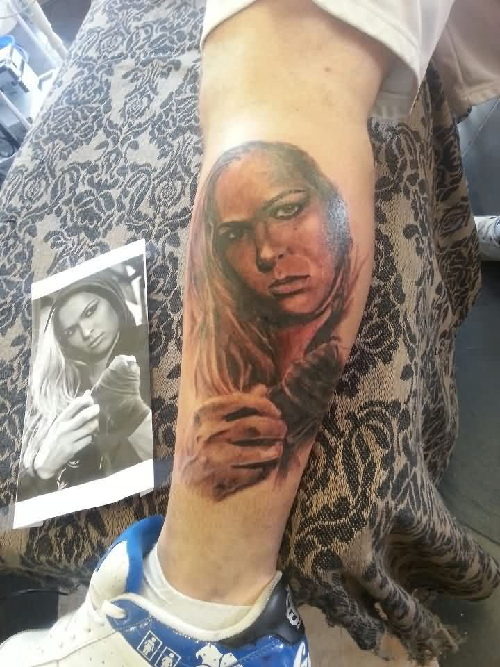 Fantastic Ronda Rousey Portrait Tattoo On Leg For Boys