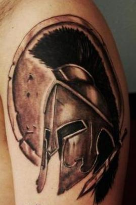 Fantastic Spartan Helmet Tattoo On Shoulder