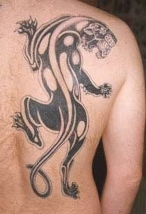 Fantastic Tribal Panther Tattoo On Side Back