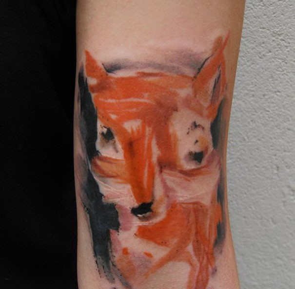 Fantastic Watercolor Fox Tattoo On Arm