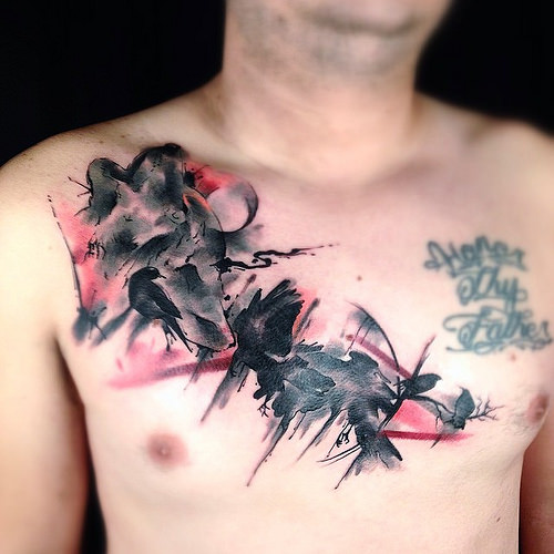 Fantastic Watercolor Tattoos On Chest