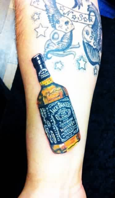 Fantastic Whiskey Bottle Tattoo On Forearm