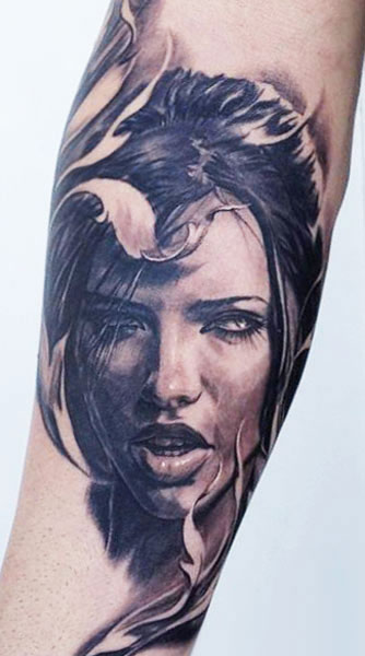 Fantastic Woman Portrait Tattoo
