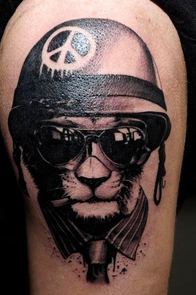 Fantasy Helmet Cat Glasses Tattoo On Shoulder