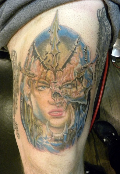 Female Warrior Head In Helmet Tattoo